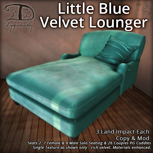 Little Blue Velvet Lounger