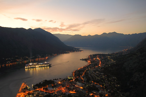 travel landscape landscapes sky clouds kotor adriatic mountains canon550d sigma1750mm sunset summer reflection night ship rays city light europe