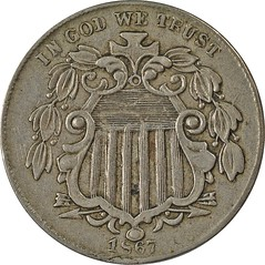 1867 Shield Nickel contemporary counterfeit