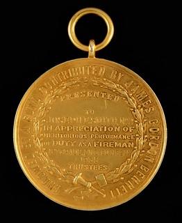 New York City Fire Department Medal Of Valor reverse