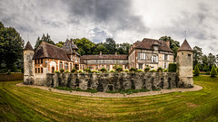 fine art colour panorama of Château de Boutemont, viewed from the closest edge of the ornamental pond and gardens, Ouilly-le-Vicomte, Calvados, Normandy, France - Photo of Pierrefitte-en-Auge