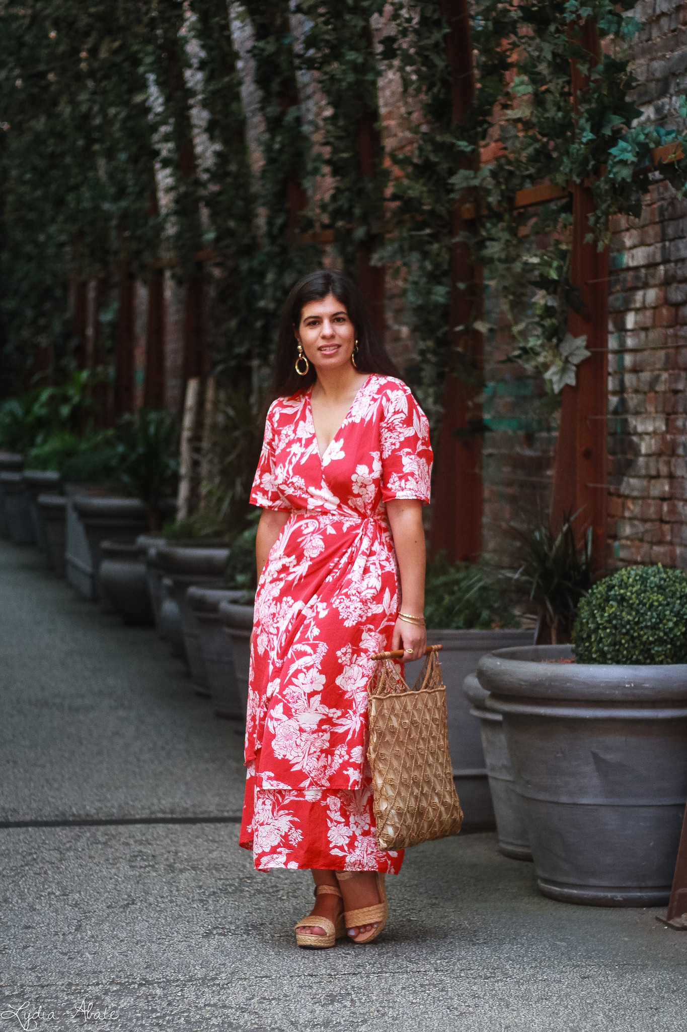 red floral maxi dress, vintage macrame bag, straw wedge sandals-2.jpg