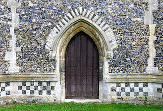 The west doorway (late 14th C.), the Church of St George, Stowlangtoft, Suffolk, England