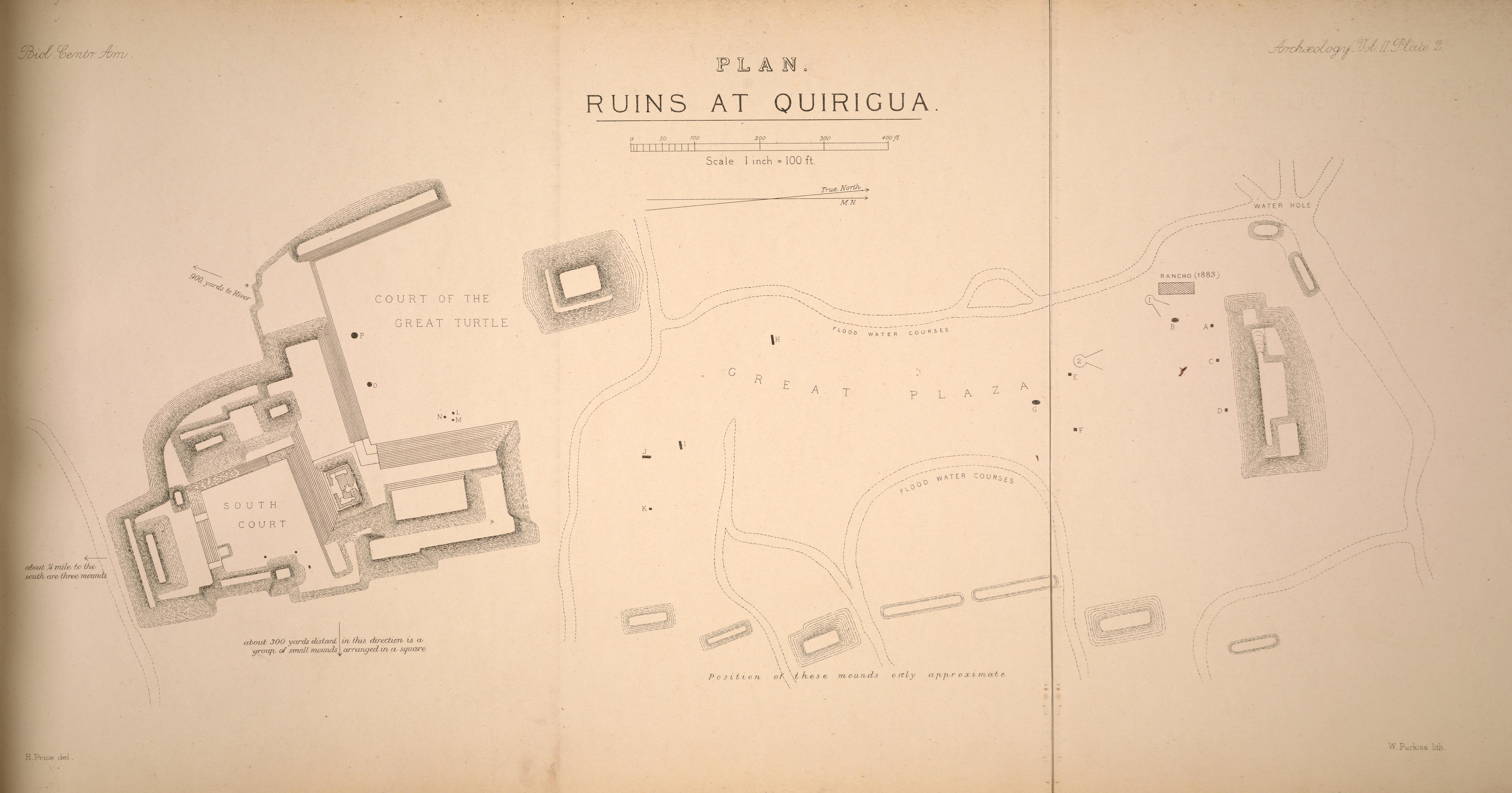 Maudslay's map of the ruins at Quiriguá, Guatemala