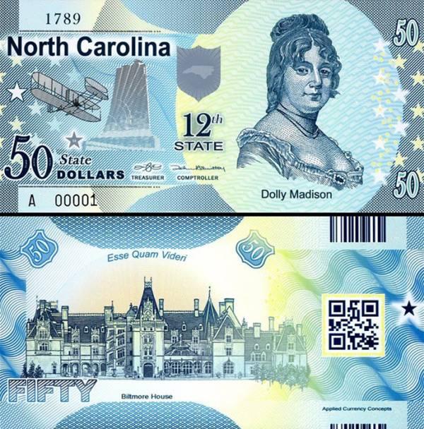 USA 50 Dollars 2015 12. štát - Severná Karolína, polymer