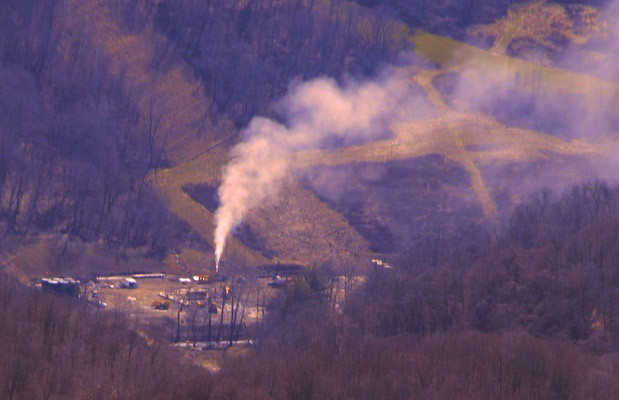 Fracking well explosion