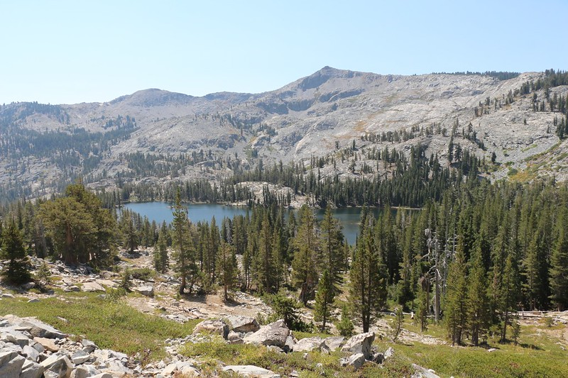 Tamarack Lake lies below the PCT as we continue to climb with Ralston Peak across the way