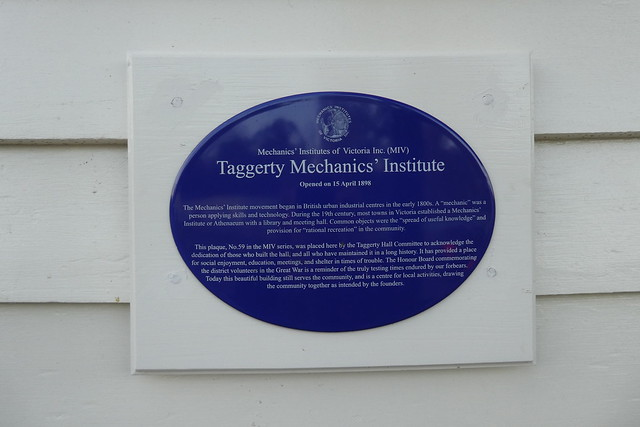 Photo of Taggerty Mechanics' Institute blue plaque