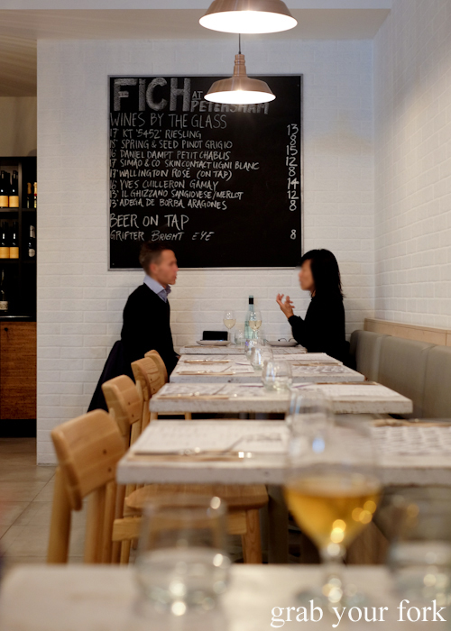 Dining room at Fich seafood restaurant in Petersham Sydney