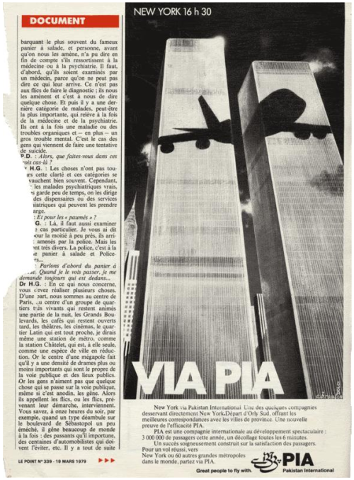 A 1979 Pakistan airline advertissement shows the shadow of a jetline on the world trade center