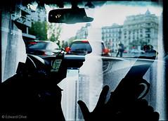 Detective spy and city taxi Madrid double exposure analog film art photographer