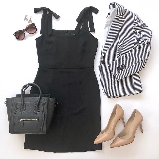 Seersucker Blazer + Little Black Dress