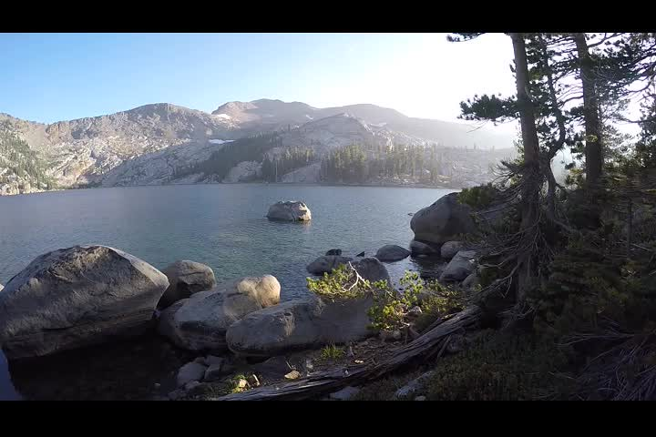 2130 GoPro panorama video of Dicks Lake in the afternoon from the shore near our campsite