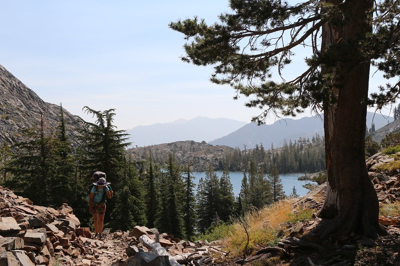 The Pacific Crest Trail climbs up above Heather Lake and it's getting warm in the sun