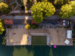 Bird's eye view of bathing beach Weißensee in Berlin