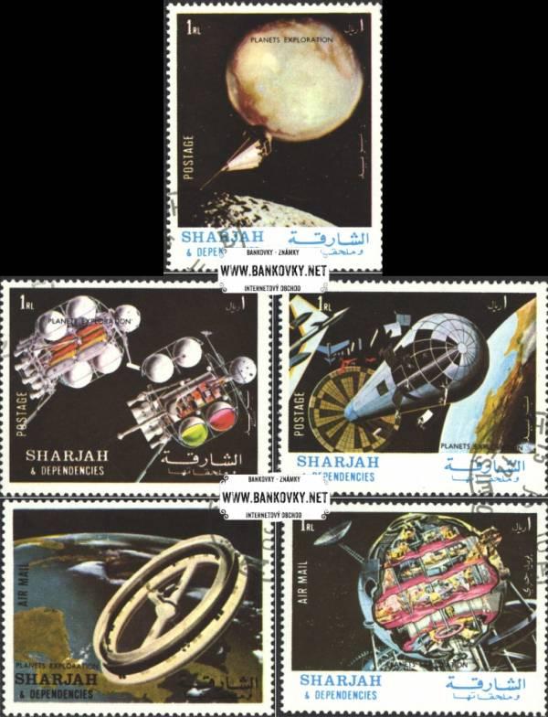 Známky Sharjah 1972 Štúdium planét, razítkovaná séria