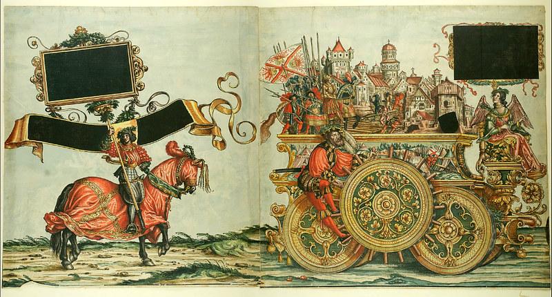 Triumphzug Kaiser Maximilians I, 1526, f. 50-51, Universitätsbibliothek Graz
