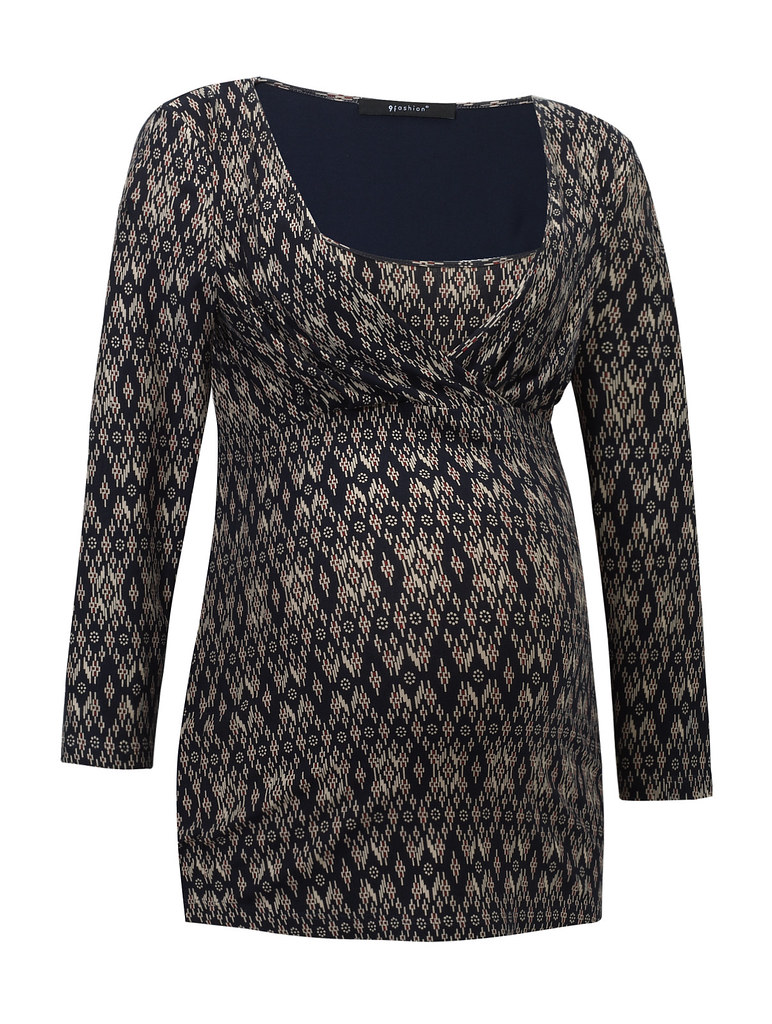 Dafne blouse dark blue patterned