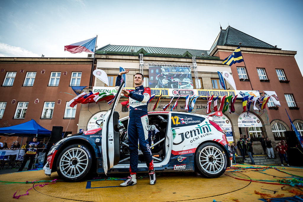 12 Cerny Jan, Cernohorsky Petr, CZE/CZE, ACCR Czech Rally Team, Ford Fiesta R5, podium ambiance during the 2018 European Rally Championship ERC Barum rally,  from August 24 to 26, at Zlin, Czech Republic - Photo Thomas Fenetre / DPPI