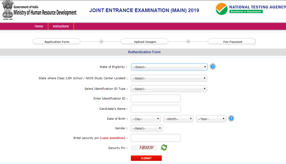 JEE Main Registration 2019