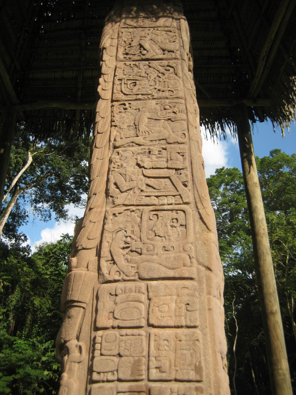 Full figure glyphs on the west side of Stela D at Quiriguá, Guatemala. Photo taken on January 27, 2008.