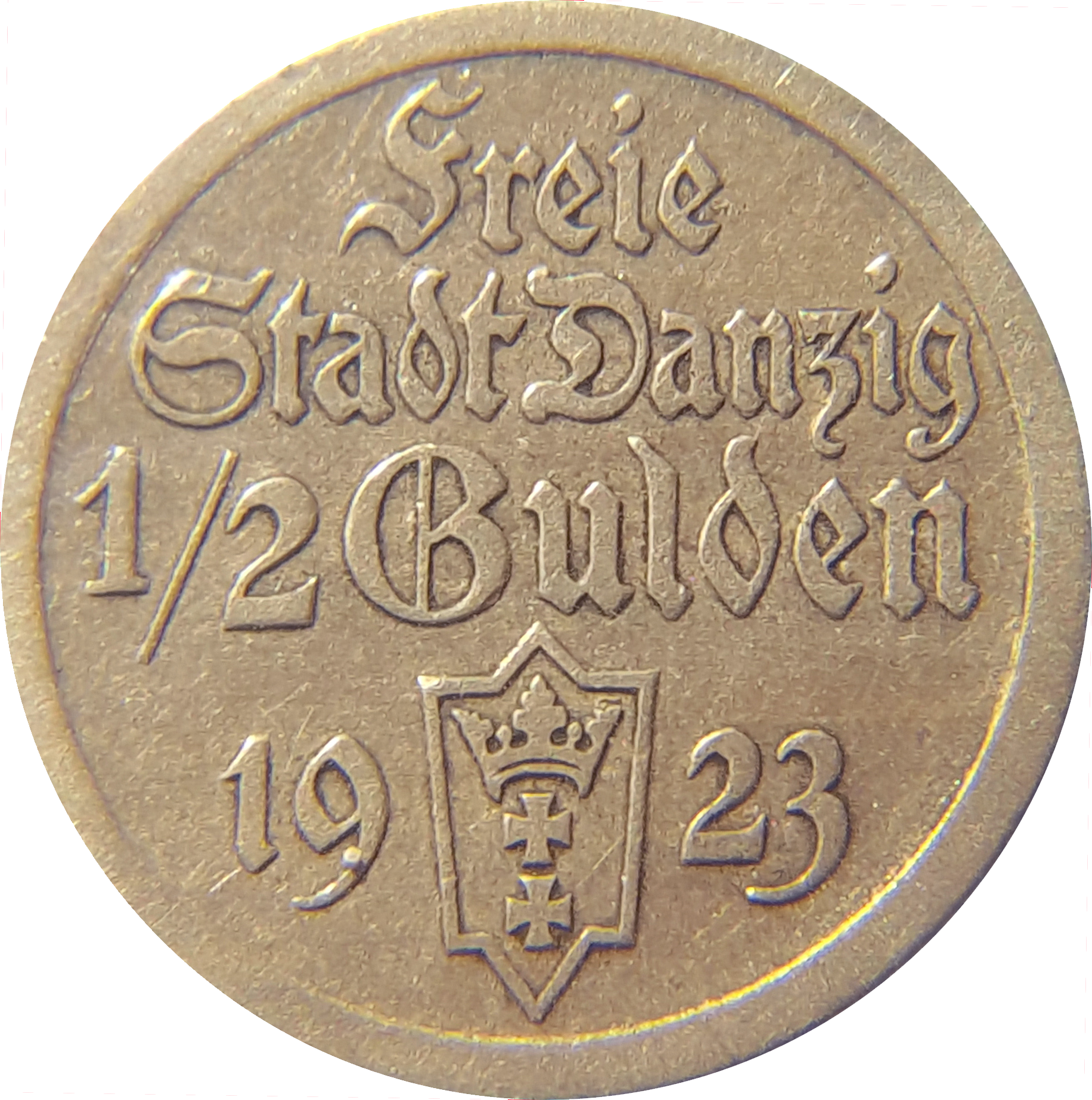 Free City of Danzig 1/2-gulden coin, 1923