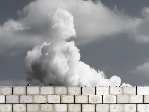 Concrete Lego, Clouds and Two Birds
