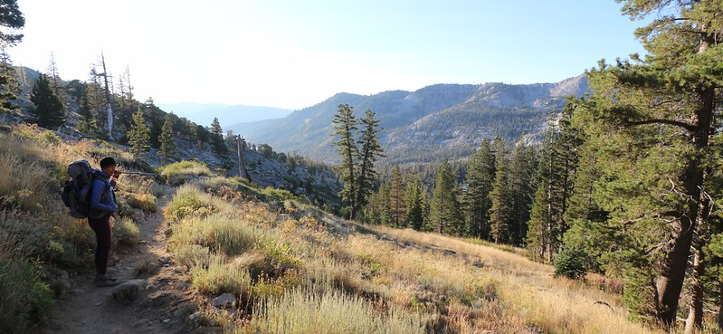 We can see Echo Lake in the distance, but it's a long way downhill on the Pacific Crest Trail