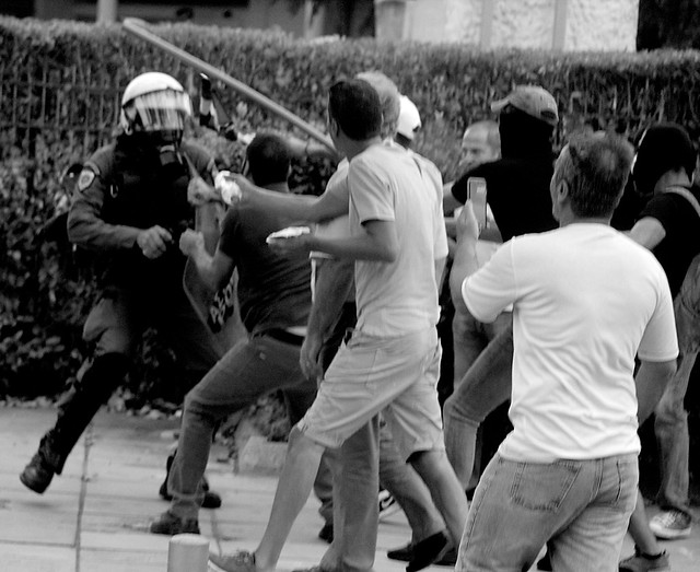 Greek nationalists clash with riot police in city of Thessaloniki