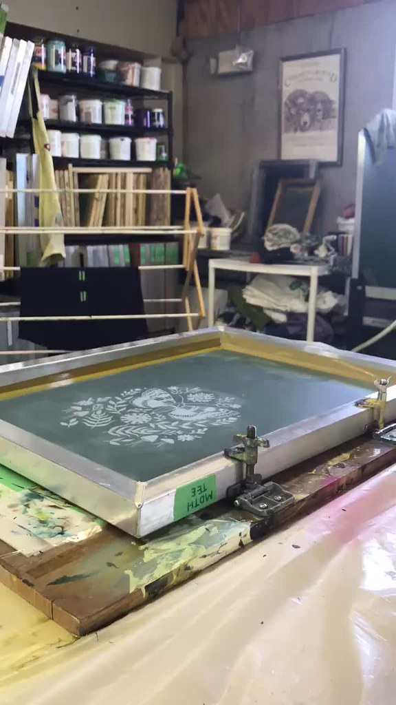 silkscreen printing the new moth tees
