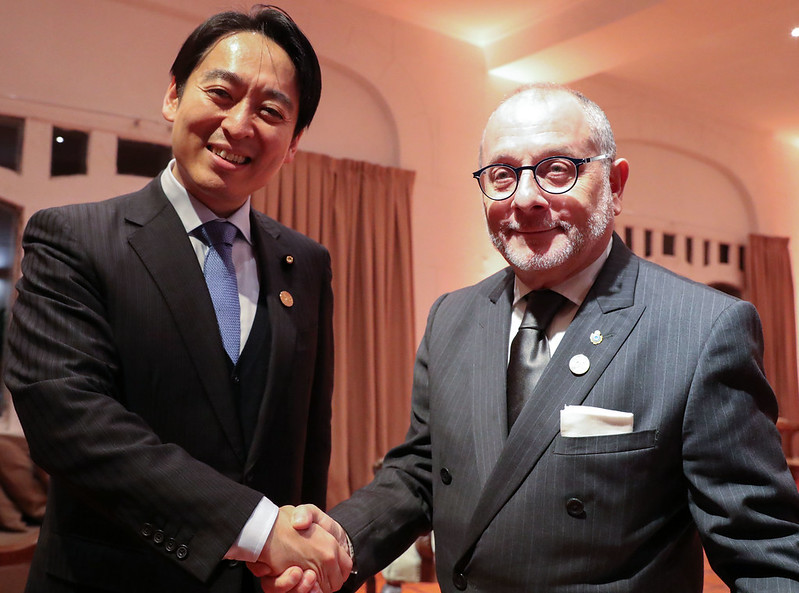 Daisaku Hiraki, Japanese Parliamentary Vice Minister of Economy, Trade & Industry; and Jorge Faurie, Argentine Foreign Minister