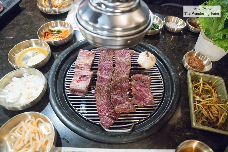 Grilling the Samwon galbi