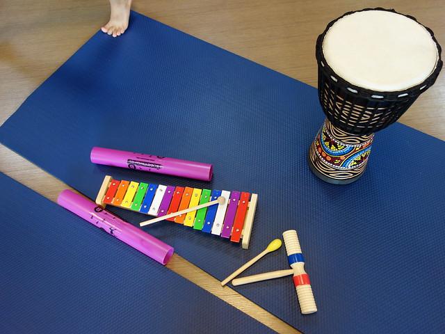 每組會分配到的樂器@「逛逛動物園」親子瑜珈音樂會