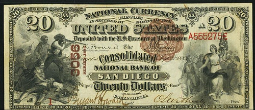 Consolidated National Bank of San Diego $20 Brownback National Bank Note