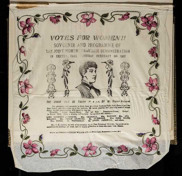Souvenir napkin for suffrage meeting at Exeter Hall 7 February 1907. Credit: LSE Library