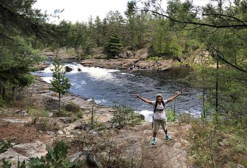 Chutes Provincial Park - Linda at falls