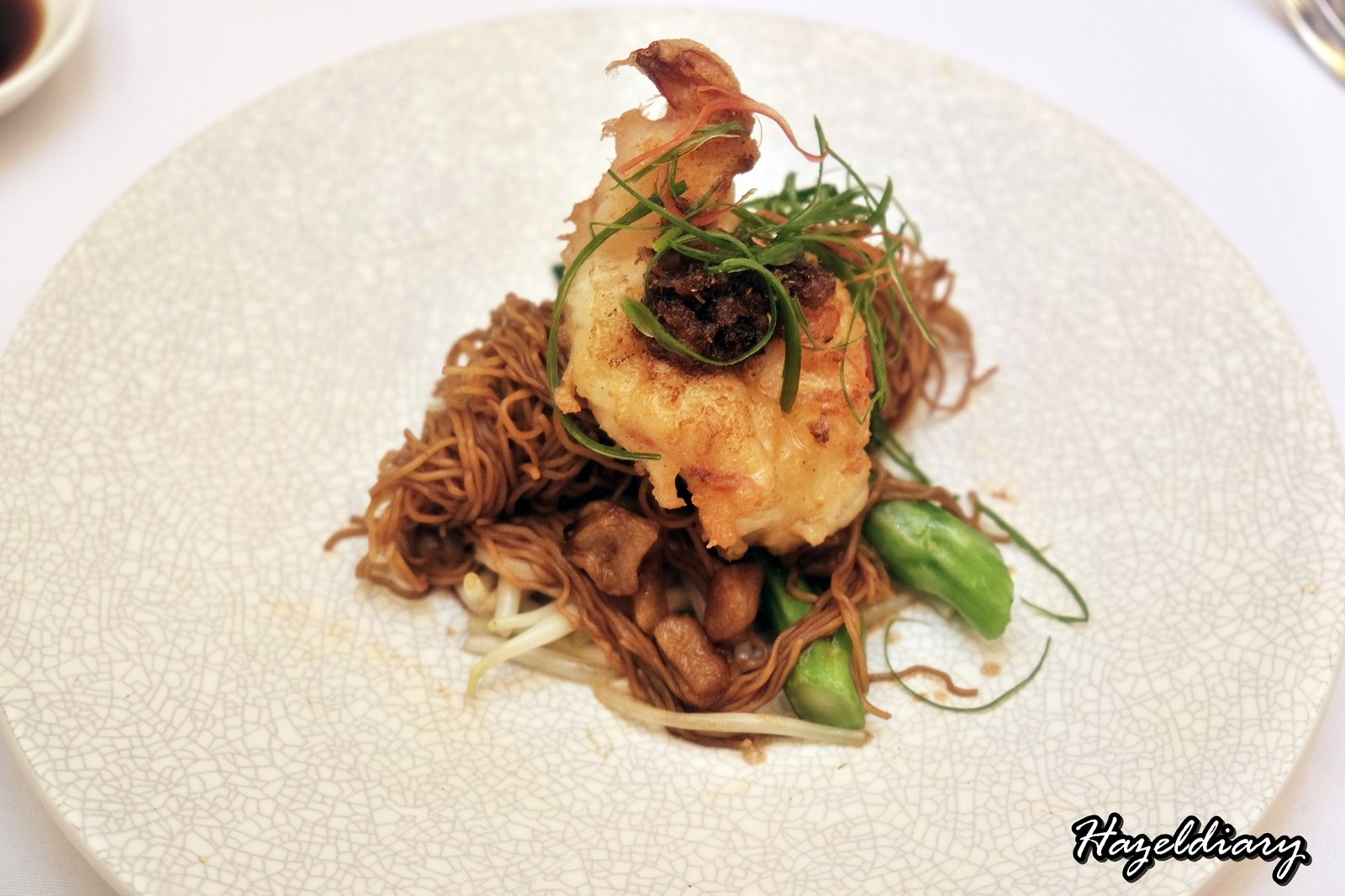 Crystal Jade Palace -Chef Martin Foo - 6 course menu-Pan-seared prawn and egg noodles with pork lardons