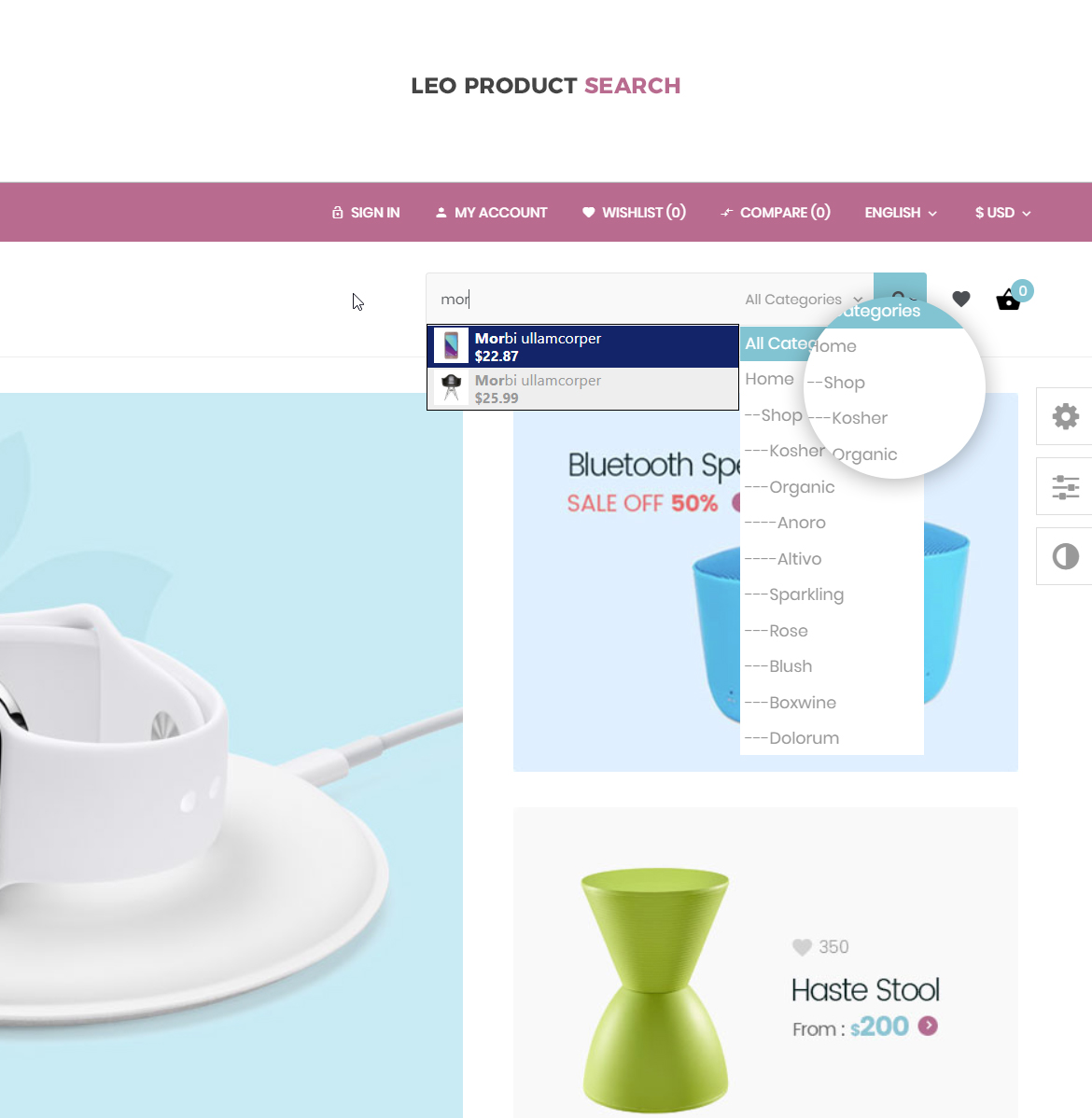 product search Prestashop module for Electronics Store