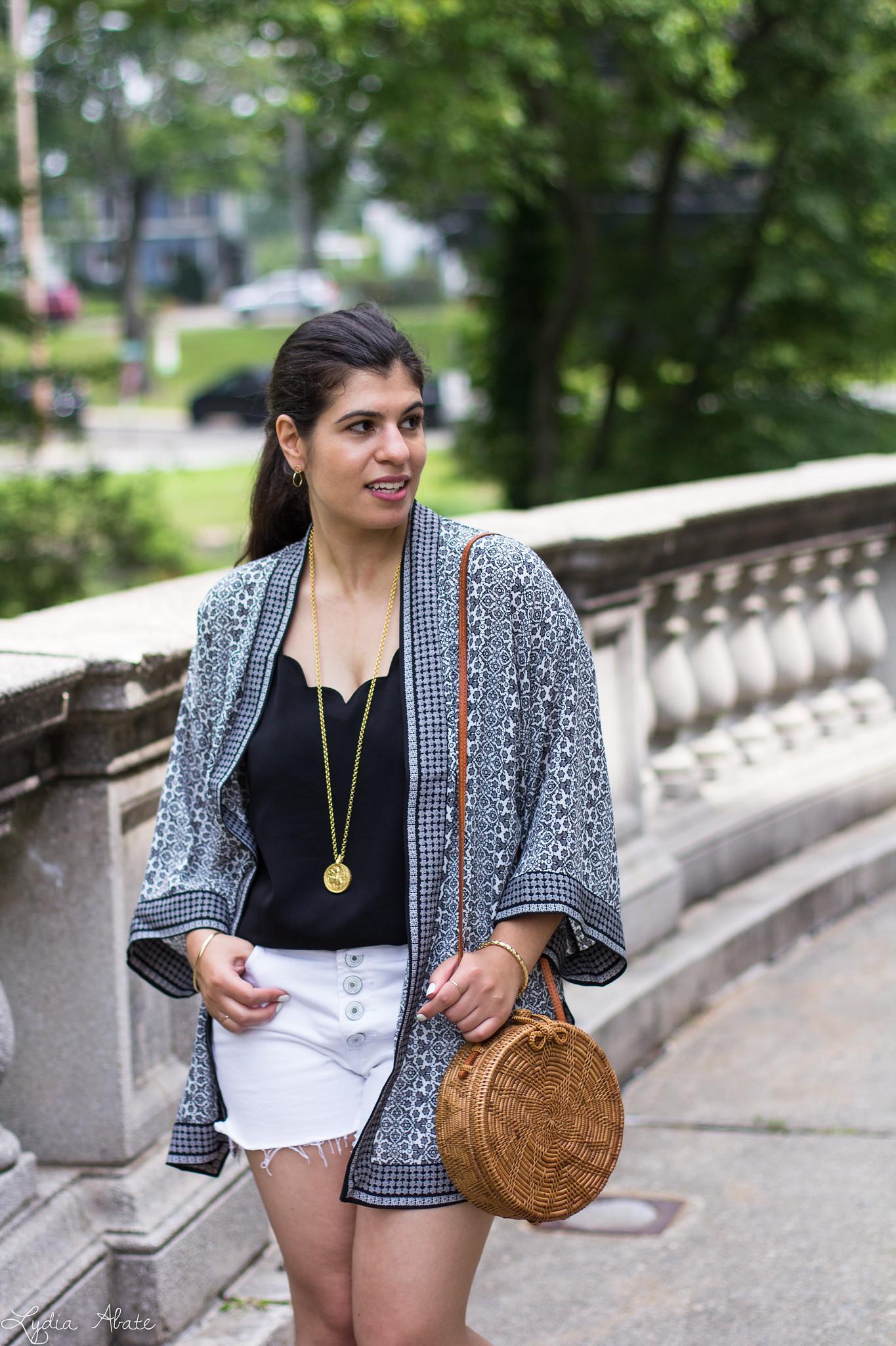 Black and White Kimono, Denim Cut-off Shorts, Round Straw Bag-15.jpg