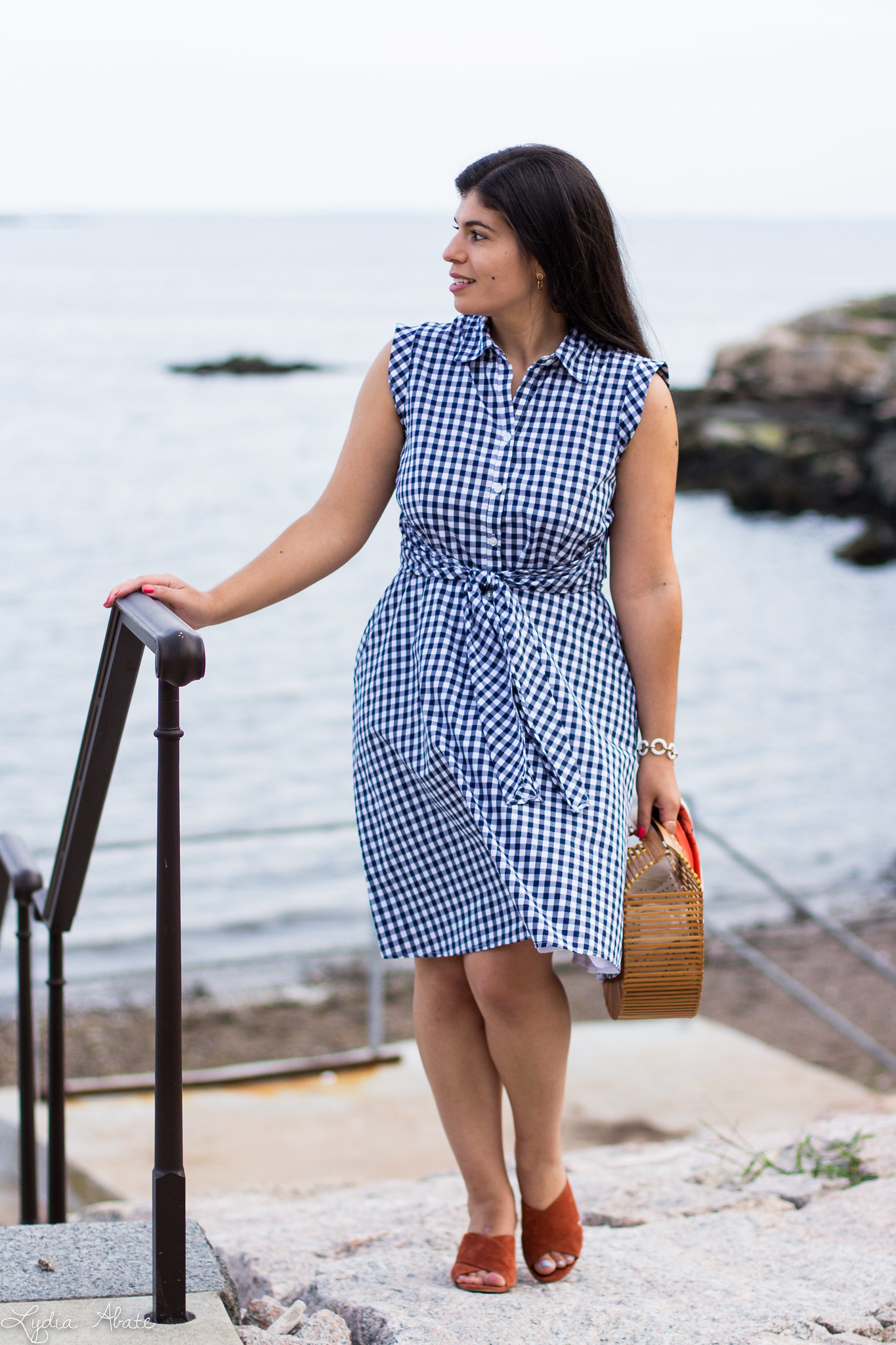 gingham dress, rust mules, bamboo half moon bag-7.jpg