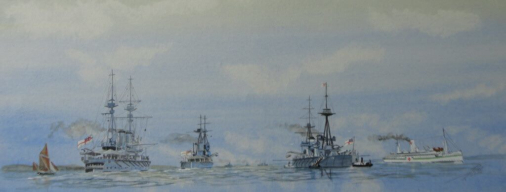 The Solent.HMS Agamemnon passing HMS Neptune and the Hospital shp Wandilla (Adalaide Steamship Company)