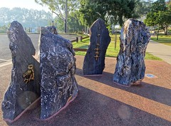 Maryborough. The Kanaka South Sea Islander indentured workers memorial. The stones depict symbols of the main islands from which the Kanakas came - Vanuatu New Caledoniaand the mask on the left is  Solomon Islands.