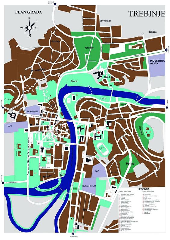 Карта Требине с улицами и учреждениями