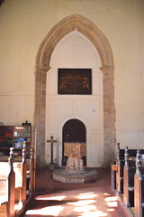 tower arch, royal arms, font