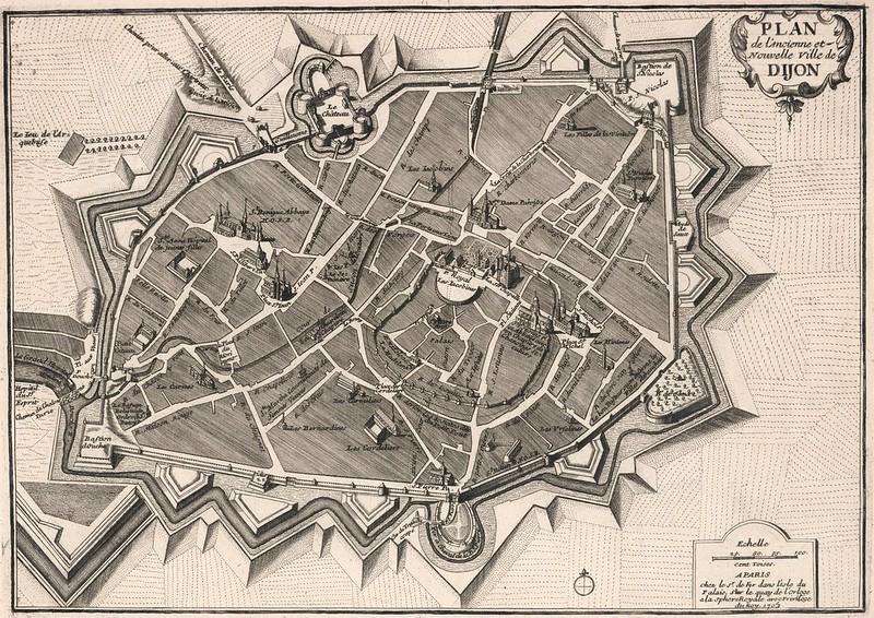 Nicolas de Fer - Plan de l'ancienne et Nouvelle Ville de Dijon, France (1705)
