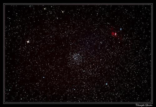 Amas ouvert M52 (NGC 7654) et nébuleuse de la bulle (NGC 7635)