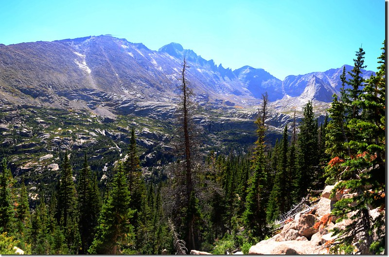 Looking southeast at Longs Peak from the trail up to Shelf Lake