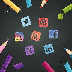 Social Media Icons - Pencil Crayons