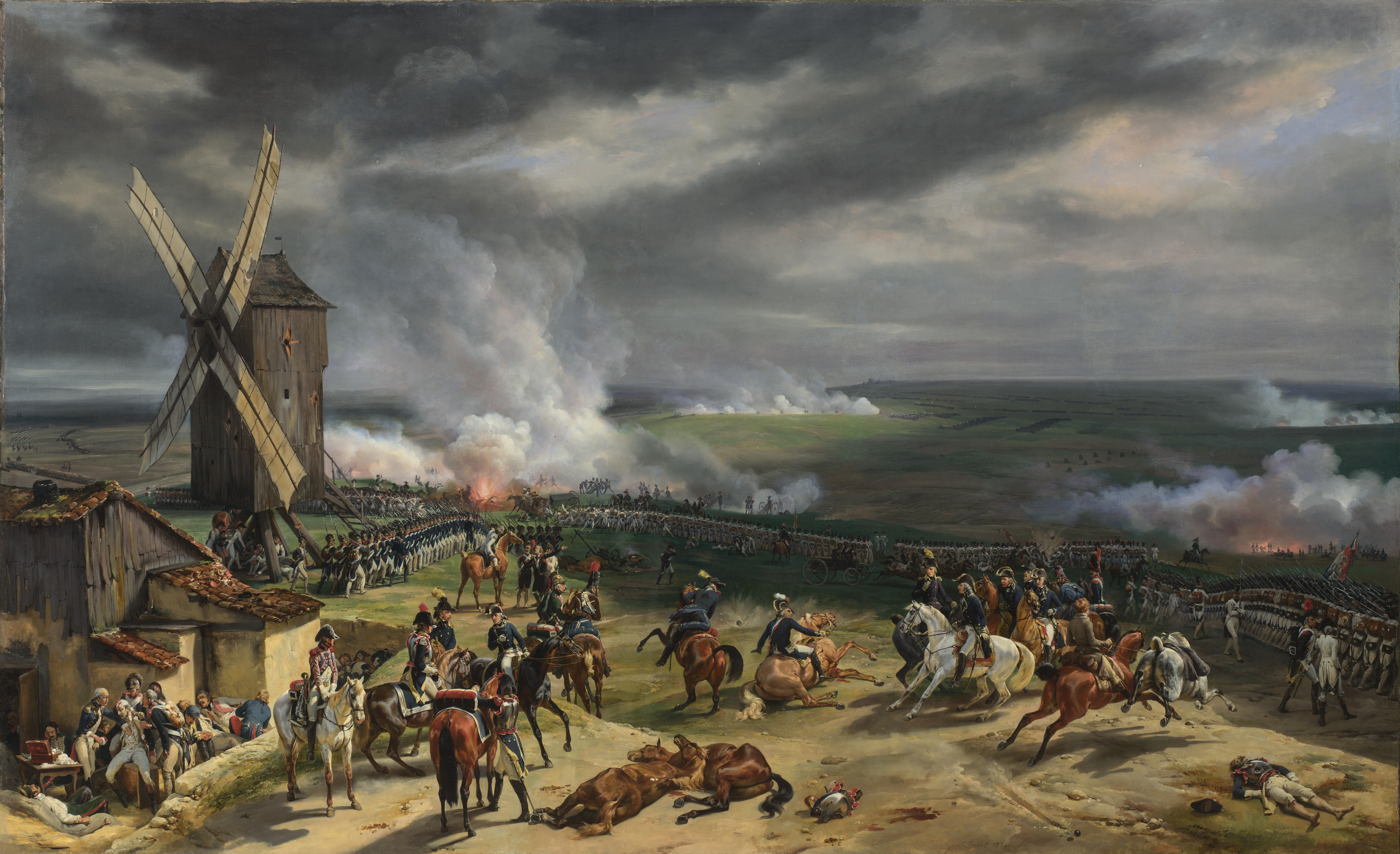 Painting of the Battle of Valmy by Horace Vernet from 1826. The white-uniformed infantry to the right are regulars while the blue-coated ranks to the left represent the citizen volunteers of 1791.