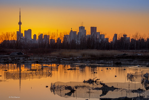 Sunset over bird sanctuary on Leslie Street Spit - Toronto | by Phil Marion